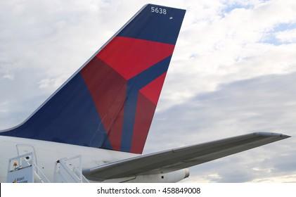 REYKJAVIK, ICELAND - JULY 3, 2016: Delta Airlines tailfin at Keflavik International Airport.
