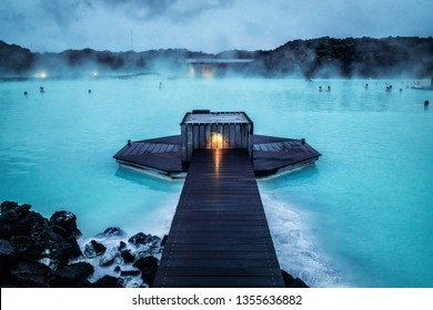 Reykjavik, Iceland - July 4, 2018: Beautiful geothermal spa pool in Blue Lagoon in Reykjavik. The Blue Lagoon geothermal spa is one of the most visited attractions in Iceland.