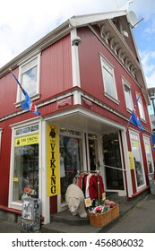 REYKJAVIK, ICELAND - JULY 5, 2016: Souvenir shop in Reykjavik, Iceland. Tourism in Iceland has grown considerably in economic significance in the past 15 years