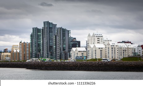 Reykjavik, Iceland - June 12, 2018 : Coastal skyline of Reykjavik, capital city of Iceland.