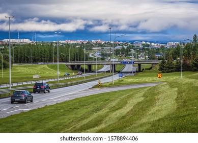 Reykjavik, Iceland - June 23, 2018: Streets in Reykjavik capital city