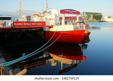 Reykjavik, Iceland - June 30, 2019 - Elding Whale Watching boat on the dock by the harbor