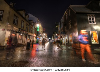Reykjavik, Iceland - March 18 2018: Slice of life in the capital city of Iceland after dark