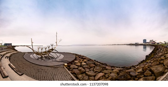 Reykjavik, Iceland - May 26, 2018: Panoramic view of Reykjavik Embankment and the Sun Voyager (Solfar) sculpture, Iceland landmark of Reykjavik city, Iceland at the early morning. Editorial use only.