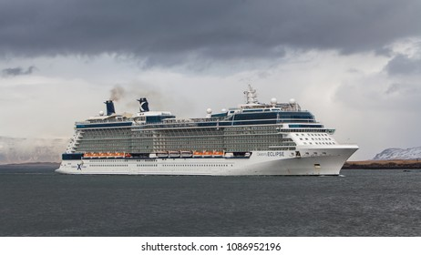 Reykjavik, Iceland - May 5, 2018 : Passenger vessel Celebrity Eclipse arriving to port in Reykjavik, Iceland.