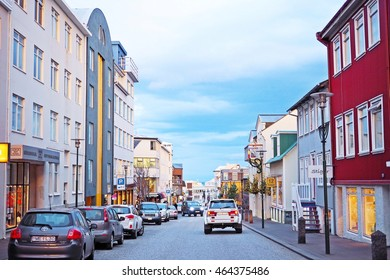 Reykjavik, Iceland - November 13, 2014: Colorful building along small street in center of capital city