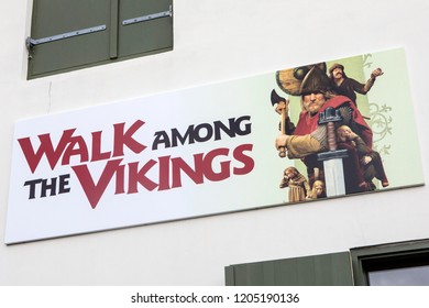 Reykjavik, Iceland - October 11th 2018: The sign above the entrance to the Saga Museum - a museum depicting the Viking history of Iceland, in the city of Reykjavik, Iceland.
