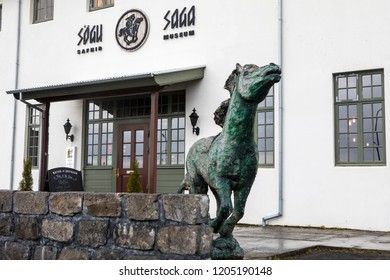 Reykjavik, Iceland - October 11th 2018: The entrance to the Saga Museum - a museum depicting the Viking history of Iceland, in the city of Reykjavik, Iceland.