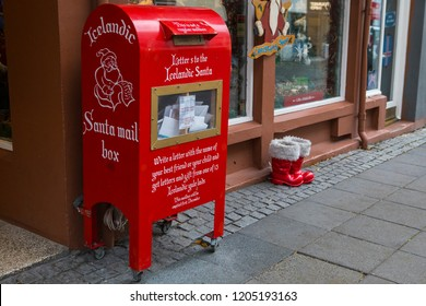 Reykjavik, Iceland - October 11th 2018: A Santa Mail Box for letters to the icelandic Santa Claus, located outside a shop in the city of Reykjavik in Iceland.