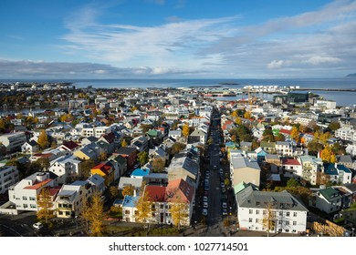 Reykjavik, Iceland - October 20, 2017: View of Downtown Reykjavik from the Hallgrimskirkja church tower.