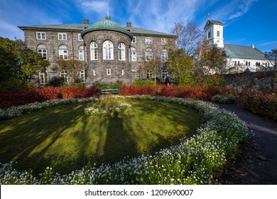 Reykjavik, Iceland - October 8th 2018: The Parliament House Garden in the city of Reykjavik, Iceland.  The garden is situated behind the building that houses the National Parliament of Iceland.