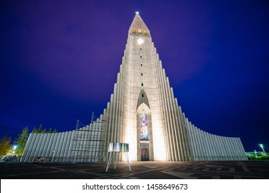 REYKJAVIK, ICELAND – September 11, 2017: View of the Hallgrimskirkja church. This Lutheran parish church of 73 metres is the largest church in Iceland.
