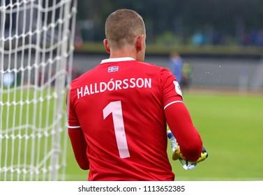 REYKJAVIK, ICELAND - SEPTEMBER 5, 2017: Goalkeeper Hannes Halldorsson of Iceland in action during the FIFA World Cup 2018 qualifying game against Ukraine at Laugardalsvollur stadium in Reykjavik