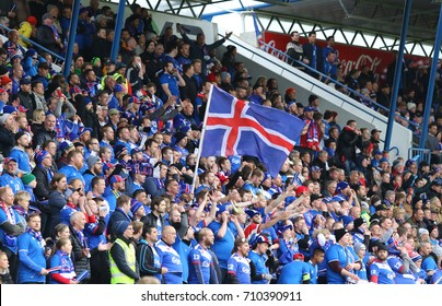 REYKJAVIK, ICELAND - SEPTEMBER 5, 2017: Iceland National Team supporters show their support during FIFA World Cup 2018 qualifying game Iceland v Ukraine at Laugardalsvollur stadium in Reykjavik