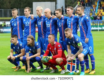 REYKJAVIK, ICELAND - SEPTEMBER 5, 2017: Players of Iceland National football team pose for a group photo before FIFA World Cup 2018 qualifying game against Ukraine at Laugardalsvollur stadium