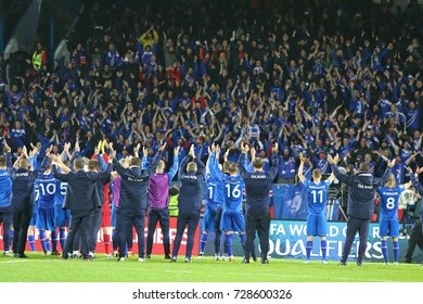 REYKJAVIK, ICELAND - SEPTEMBER 5, 2017: Players of Iceland National football team thank fans after FIFA World Cup 2018 qualifying game against Ukraine at Laugardalsvollur stadium in Reykjavik,Iceland