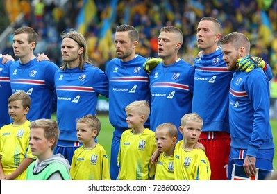 REYKJAVIK, ICELAND - SEPTEMBER 5, 2017: Players of National football team of Iceland listen to National anthems before FIFA World Cup 2018 qualifying game against Ukraine in Reykjavik