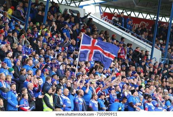 REYKJAVIK, ICELAND - SEPTEMBER 5, 2017: Iceland National Team supporters show their support during FIFA World Cup 2018 qualifying game Iceland v Ukraine at Laugardalsvollur stadium in Reykjavik
