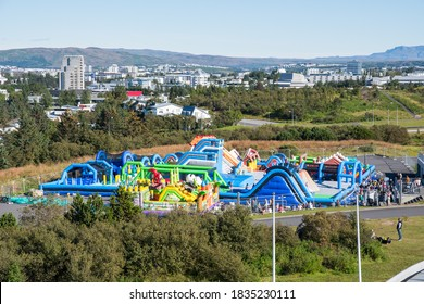 Reykjavik Iceland - September 5. 2020: One of the biggest bouncy castles in the world in Perlan Adventure park