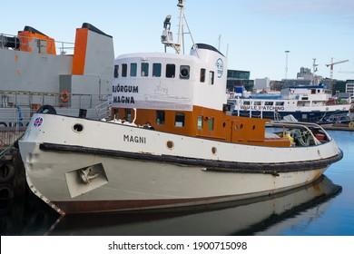 Reykjavik Iceland - September 5. 2020: vintage tug and pilot vessel Magni