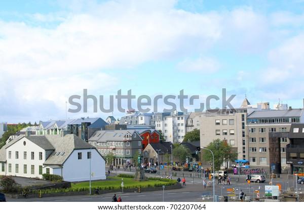 Reykjavik, July 2017: Reykjavik cityspace in Iceland. Summer time