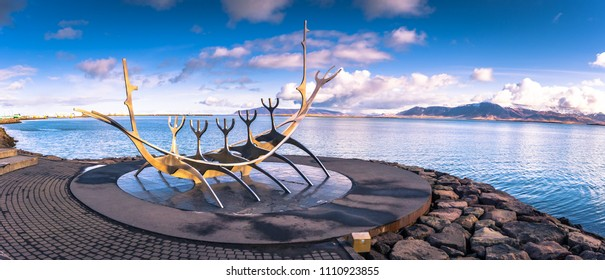 Reykjavik - May 02, 2018: The Sun Voyager statue in Reykjavik, Iceland