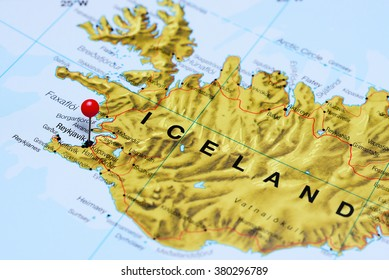 Reykjavik pinned on a map of Iceland
