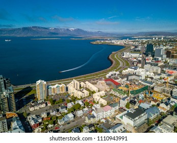 Reykjavik from yhe top. Iceland capital in summer sunny daytime
