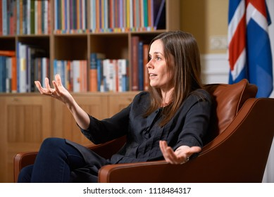 REYKJAVIK,ICELAND/JUNE 14,2018:  Prime Minister of Iceland Katrin Jakobsdottir  during an interview with Russian television