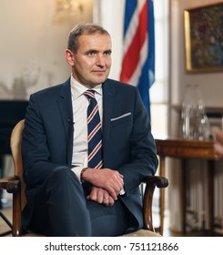 REYKJAVIK,ICELAND/OCTOBER 31,2017: President of Iceland Gudni Johannesson  during an interview with Russian television