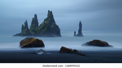 Reynisdrangar. Sea stacks near village Vik, Iceland