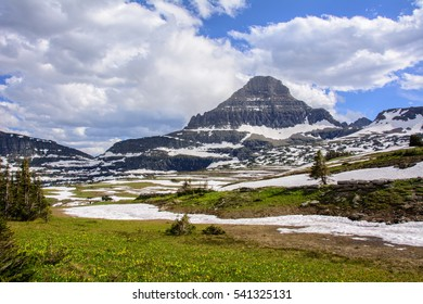 Reynolds Mountain at Logan Pass in Glacier National Park in Montana state. USA