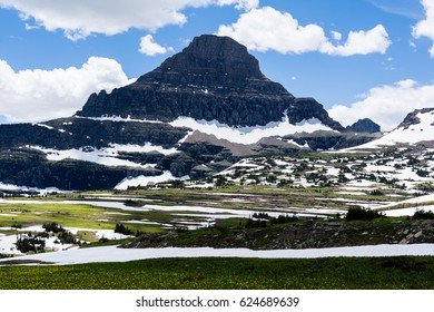 Reynolds mountain seen from Logan pass in Glacier National Park, USA