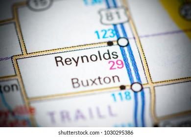 Reynolds. North Dakota. USA on a map.