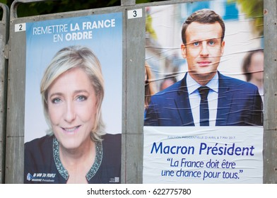 REYRIEUX, FRANCE - APRIL 15, 2017 : Official campaign posters for the 2017 french presidential election.