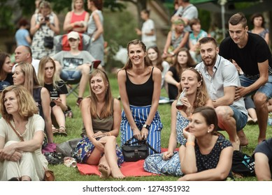 Rezekne - Latvia, July 24, 2018: Picnic with arts elements. One time in the year a this place comes artists and arts lovers with their families. People relaxing in the park
