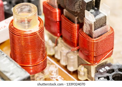 RF coils in a radio circuit - various electronic components