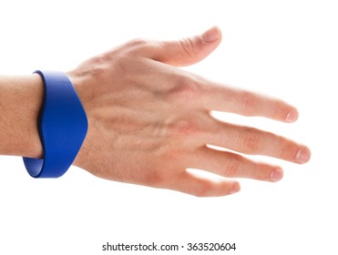 RFID Bracelet on a hand of man isolated on a white background