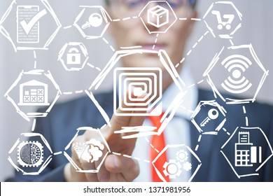 RFID Radio Frequency Identification concept. Modern Commerce Smart Shopping Wireless Micro Chip Technology.