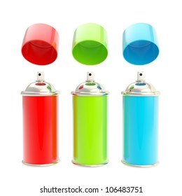 RGB colored spray oil color cylinders with caps above isolated on white