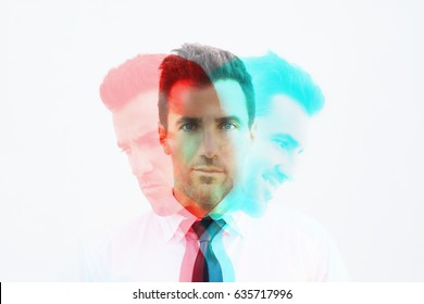 RGB Glitch effect of businessman with emotion, mad, calm and happy. Emotional controlling, mental health concept.