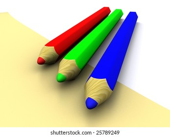 RGB pencils and letter. 3D