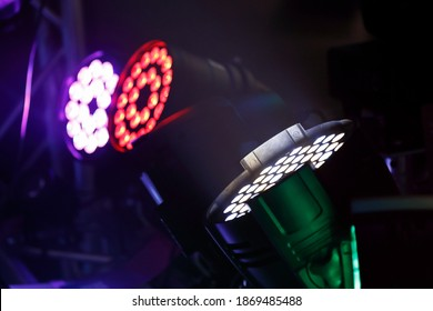 RGBW colored led stage lights. Selective focus. - Shutterstock ID 1869485488