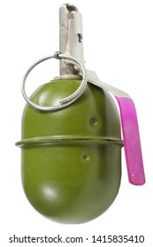 "The RGD-5 (Ruchnaya Granata Distantsionnaya, English ""Hand Grenade Remote""), is a post-World War II Soviet anti-personnel fragmentation grenade, designed in the early 1950s isolated on white"