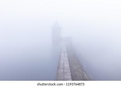 Rhayader, Powys / Wales - September 29 2018: A wall of fog envelops the Elan Valley
