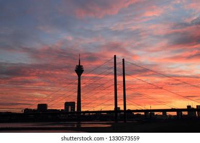 Rhei-Knie-Bridge and Rhinetower in  Dusseldorf