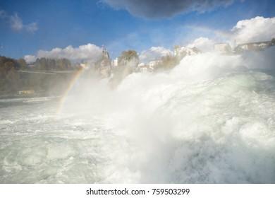 Rheinfall in Autumn, the biggest waterfall in Europe