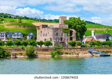 Rheingau Wine Museum, winery and vineyards in Rudesheim am Rhein town in the Rhine Valley, Germany