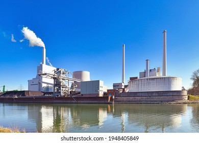Rheinhafen steam power plant in Karlsruhe in Germany used for generation of electricity and district heating from hard coal
