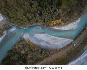 Rheinschlucht Graubünden Valley with blue river  meandering through rugged gorge from above Aerial photogaphy